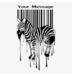 abstract zebra silhouette with barcode vector image
