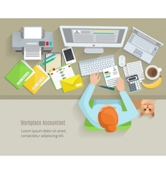 Accounter Workplace Flat vector image vector image