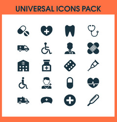Antibiotic icons set collection of bus disabled vector