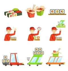 Asian food fast delivery service process info vector