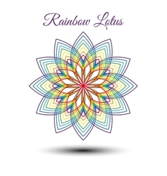 Beautiful rainbow lotus flower vector