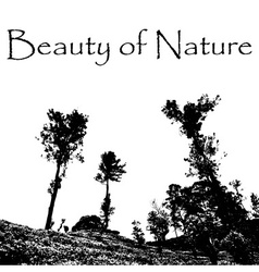 Beauty of nature with landscape scenery with trees vector