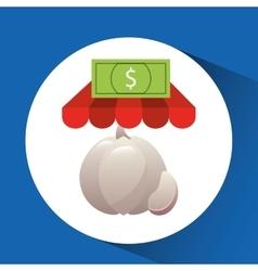 Buying online garlic vegetable icon vector