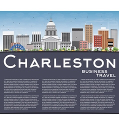 Charleston skyline with gray buildings blue sky vector