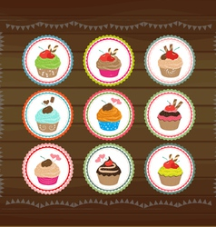 Cubcakes circle tags vector