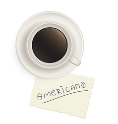 Cup of black coffee with a note vector image