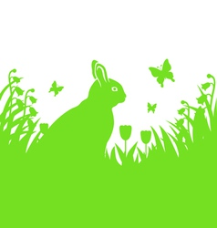 easter hare silhouette vector image vector image