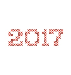 Embroided by cross stitch text 2017 new year vector image