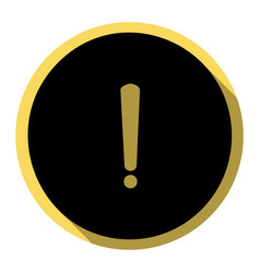 Exclamation mark sign flat black icon vector