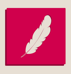 Feather sign grayscale vector