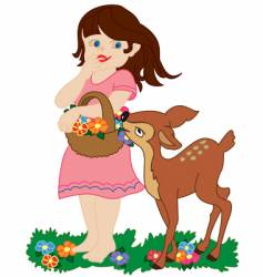 girl and small deer vector image