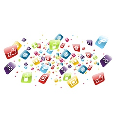 Global mobile phone apps icons splash vector