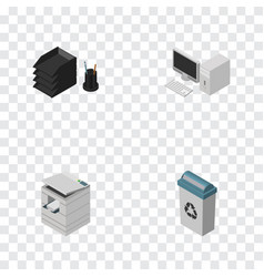 Isometric cabinet set of desk file rack computer vector