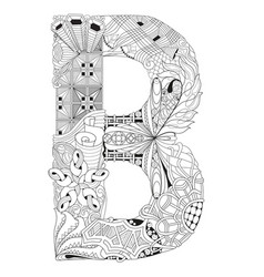 Letter b for coloring decorative zentangle vector