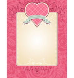 Lovely pink valentine heart with grey ribbon vector