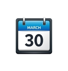 March 30 calendar icon flat vector