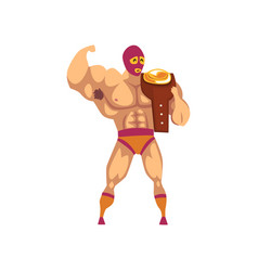 Muscular wrestler standing and holding winner s vector