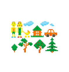 pixel-art-happy-family vector image