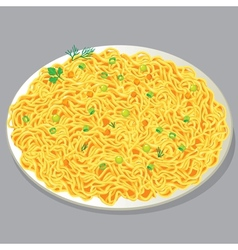 Plate of pasta with vegetables vector