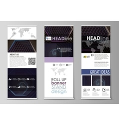 Roll up banner stands corporate vertical vector