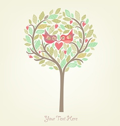 Romantic background with birds in love vector