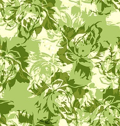 Seamless floral pattern with green roses vector image