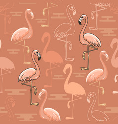 Seamless pattern of hand drawn pink flamingo bir vector