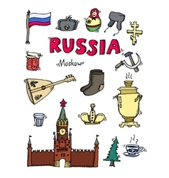 Set of Russia hand-drawn icons vector image