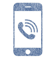 smartphone call fabric textured icon vector image