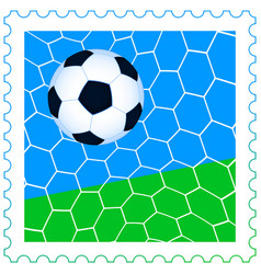 Soccer ball on the stamp vector