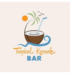 tropical karaoke bar design template vector image