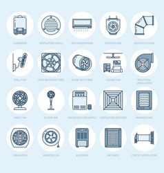 Ventilation equipment line icons air conditioning vector