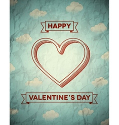 Vintage crumpled valentines day card with clouds vector