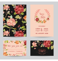 Wedding Invitation or Congratulation Card Set vector image vector image