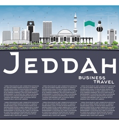 Jeddah skyline with gray buildings blue sky vector