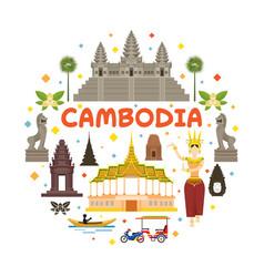cambodia travel attraction label vector image