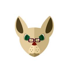 Siamese cat head with glasses icon vector