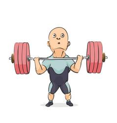 funny cartoon weightlifter vector image