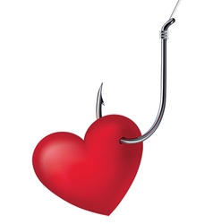 Heart on the hook vector