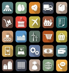 Supply chain flat icons with long shadow vector