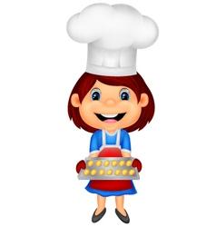 Little girl cartoon baking vector image