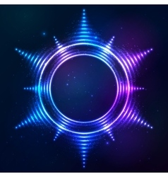 Bright shining blue neon sun frame at dark cosmic vector