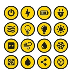 Electric icons set yellow signs vector
