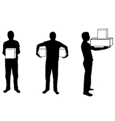 Silhouette of man with box in different positions vector