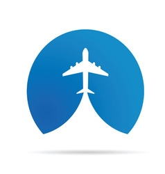 Airplane icon in blue vector
