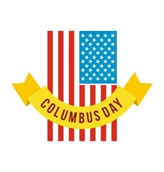 American flag with columbus day ribbon icon vector