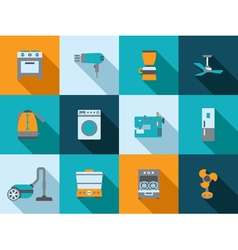 Buttons with silhouette domestic equipment icons vector