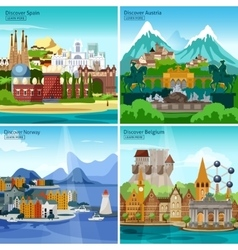 European touristic icon set vector