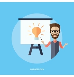 Businessman presentation business idea vector
