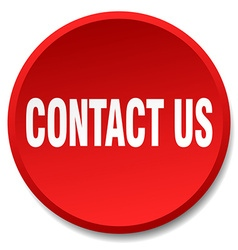 Contact us red round flat isolated push button vector